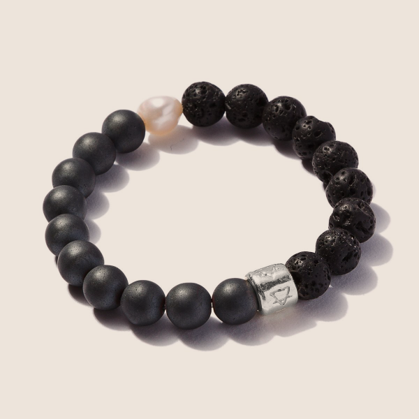 Matte Pyrite with Lava Stone and Pearl