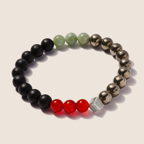 Matt Onyx, Pyrite, Red Agate and Jade Bracelet